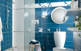 blue bathroom tile ideas: apartment bathroom blue nice plants teal decor white
