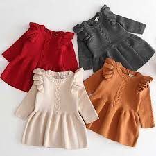 <b>Baby Girls Winter</b> Knit Clothes Long Sleeve Baby Warm Dress ...