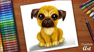 Airbrush effect with <b>oil</b> pastels - Fluffy Pug puppy - easy drawing ...