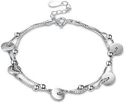 BODYA <b>S925 Sterling Silver</b> Double Layer Small Disc Bracelets ...