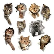 9PCS Animals Cute Cat Wall Emoji Sticker Living ... - Amazon.com
