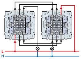 Схема подключения <b>проходного двухклавишного выключателя</b>