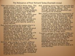 ben franklin s autobiography and poor richard s almanac understand the relevance of poor richard today example essay fish and ors smell in three