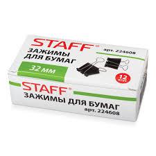 Купить <b>Зажимы для бумаг STAFF</b>, КОМПЛЕКТ 12 шт., 32 мм, на ...