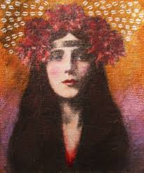 Evelyn Nesbit Series. Posted on April 19, 2011 July 4, 2012 by Sara Renae Holloway. Photo-transfer on raw canvas. Gold/silver ink, pastel, watercolor, ... - proof1