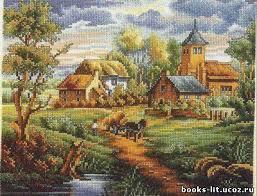 деревенский пейзаж с большим количеством схожих оттенков