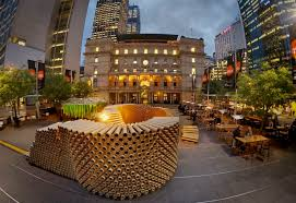 sydney architecture students build pavilion from 2000 recycled cardboard tubes cardboard tubes
