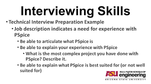 interviewing skills before you view this powerpoint  go to view    interviewing skills technical interview preparation example job description indicates a need for experience   pspice be