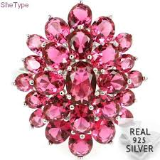 25x20mm SheType 9.2g Created Pink Tourmaline Natural CZ ...