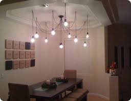 industrial wire and bulb chandelier bare bulb lighting