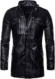 AOWOFS Men's Casual Faux <b>Leather</b> Long Jacket Fit Outdoor <b>Stand</b> ...