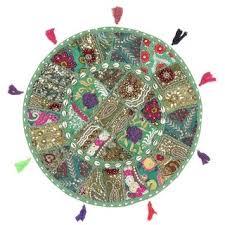 Shop <b>Boho</b> Patchwork <b>Bohemian Round</b> Floor Pillow Ottoman Pouf ...