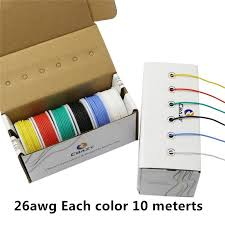 60 meters box 26 awg 10 meters each colors flexible silicone rubber wire tinned copper line kit 6 colors diy