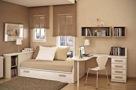 cool bedroom design ideas by white wooden bed with brown sheet beside study table on the amazing kids bedroom ideas calm