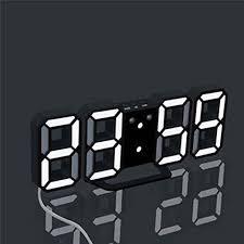 Modern <b>Digital 3D</b> White <b>LED Wall Clock</b> Alarm Clock 12/24 Hour ...