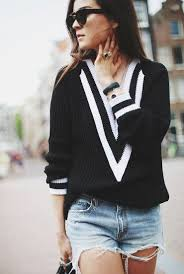 Fall <b>Fashion</b> Sweater Deep <b>V Neck</b> Black and White Loose Sweater ...