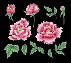 <b>Peony</b> Flower Of <b>Japanese Style</b>. Patches For Embroidery Or Textile ...