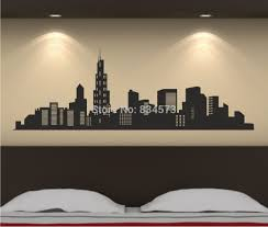 liberty bedroom wall mural: city skyline silhouette wall art stickers wall dec