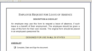 employee request for leave of absence form employee request for leave of absence form