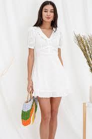 <b>Floral</b> Fern Spritz <b>Embroidery</b> Dress White | lechicsg