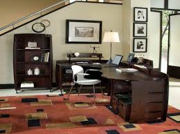 style models office work space design adorable l shaped dark brown finish varnished adorable glass top office