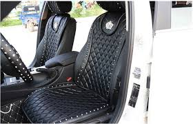 <b>New 2 Pcs Fashion</b> Crown Leather Car Front Seat Cover Black ...