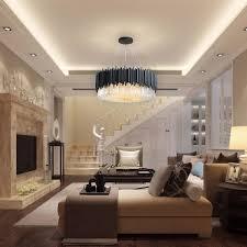 Black Round <b>Chandelier Lighting</b> Luxury <b>Modern LED</b> Crystal <b>Lamp</b> ...