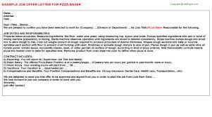 baker job offer letters   pizza baker