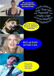 """John Mayer and Taylor Swift fight via songs """"Paperdoll"""" and """"Dear ... via Relatably.com"""