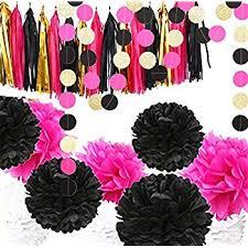 Hot <b>Pink</b>, Gold, and Black <b>Party</b> Decorations, 50 <b>pc Party</b> Supply <b>Set</b>
