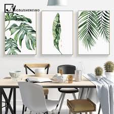 Watercolor Leaves Wall Art Canvas Painting <b>Green</b> Style <b>Plant</b> ...