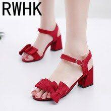 <b>RWHK 2019 summer new</b> wear thick heels women's fashion wild ...