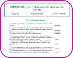 behavioural competence objectives for managers and senior staff managerial competence