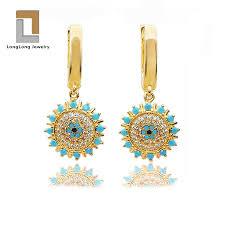 China <b>Fashion</b> Gold Plated <b>Blue</b> Turquoise <b>Evil Eye</b> Earring and ...