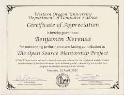 recognition for foss mentoring benjamin kerensa western oregon university computer science certificate of appreciation benjamin kerensa
