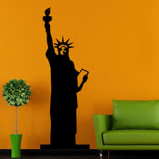 liberty bedroom wall mural: the statue of liberty silhouette art designed wall decal home livingroom creative decor american style vinyl