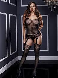 <b>Полосатый кэтсьюит с имитацией</b> чулок Jaquard Lace Suspender ...
