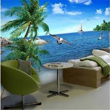 <b>beibehang Custom 3d photo</b> wallpaper Palm beach scenery sea ...