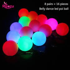 <b>Ruoru</b> 16 pieces = 8 pair <b>belly dance</b> ball RGB glow LED POI thrown ...