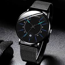 <b>Men</b> Fashion <b>Business watches</b> Black Mesh Belt Wrist Watch Luxury ...