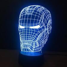 3D Art Iron <b>Man</b> Mask Night Light LED Colorful Color Change Lamp ...