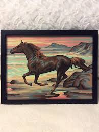 Vintage Paint by Number Picture <b>Horse</b> Scene Running on Beach ...