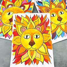 Flow Drawing for Kids: Sunshine <b>Lion Art</b> | Arty Crafty Kids