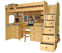 cream solid wood loft bunk bed with study desk having drawers and stair using black acrylic childrens bunk bed desk full