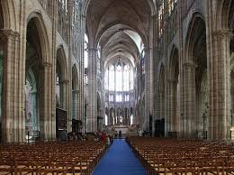 the nave toward the entrance toward the choir and the cruciform pier basilica saint denis