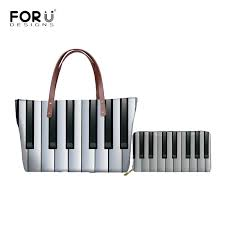 <b>FORUDESIGNS</b> Tote Shoulder Bags Women Piano Keyboard <b>3D</b> ...
