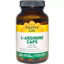 Country Life, <b>L</b>-<b>Arginine Caps</b>, <b>500</b> mg, 100 Vegan Caps