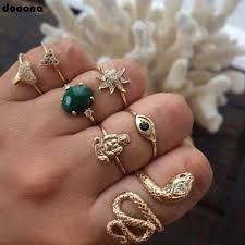<b>docona Bohemian Gold Color</b> Snake Buddha Crystal Flower Rings ...