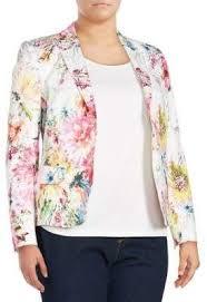 <b>Basler Plus Size</b> Floral Open Front Blazer | Camisa feminina ...