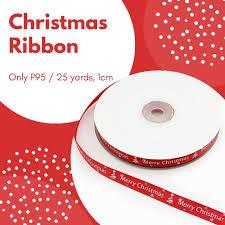 FP399 Ribbon Print <b>Merry</b> Christmas <b>1cm</b>, 25yards | Shopee ...